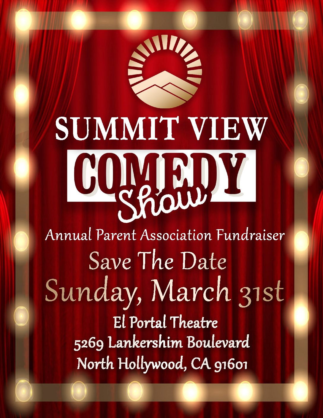 Save the Date for our Summit View Valley Comedy Show